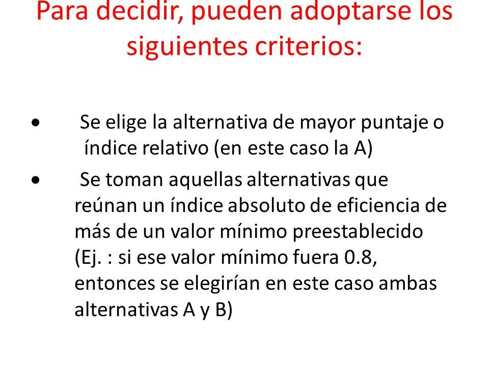 Para decidir, pueden adoptarse los siguientes criterios: