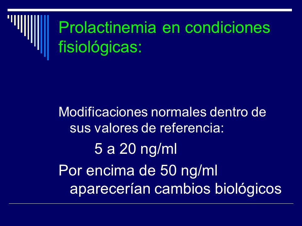Prolactinemia en condiciones fisiológicas: