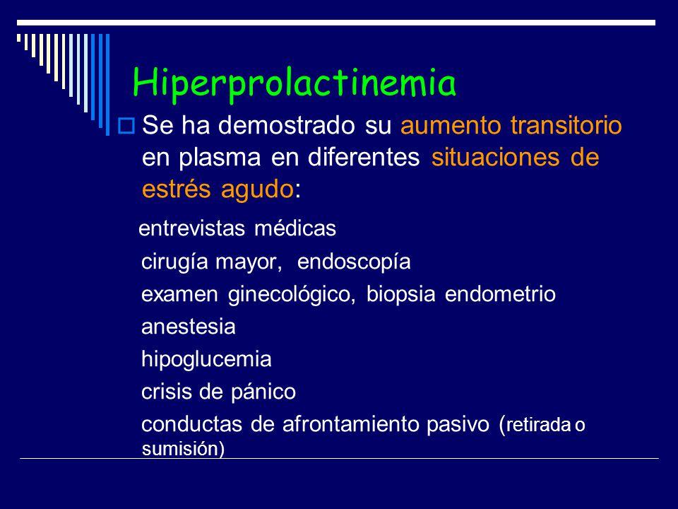 Hiperprolactinemia Se ha demostrado su aumento transitorio en plasma en diferentes situaciones de estrés agudo: