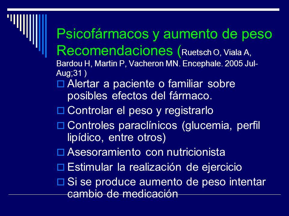 Psicofármacos y aumento de peso Recomendaciones (Ruetsch O, Viala A, Bardou H, Martin P, Vacheron MN. Encephale. 2005 Jul-Aug;31 )