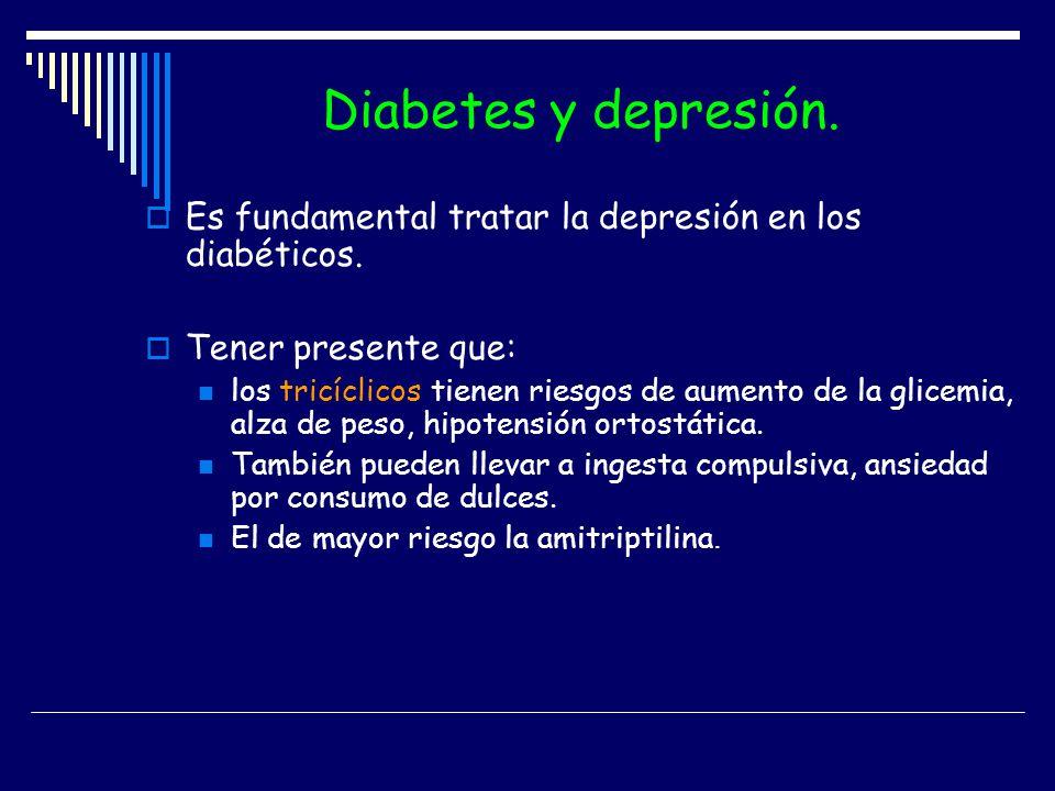 Diabetes y depresión. Es fundamental tratar la depresión en los diabéticos. Tener presente que:
