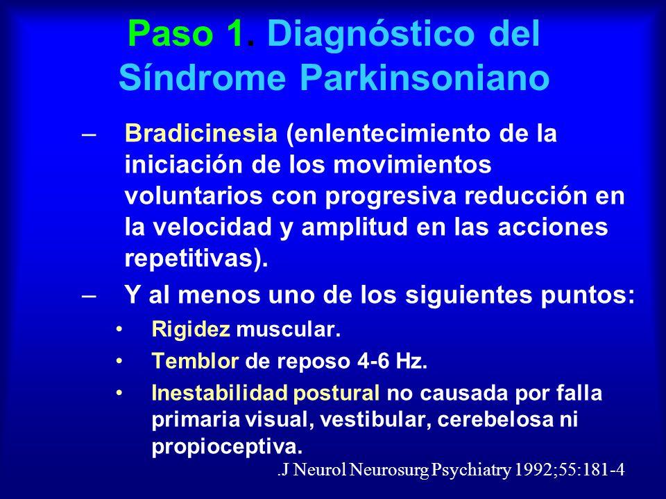 Paso 1. Diagnóstico del Síndrome Parkinsoniano