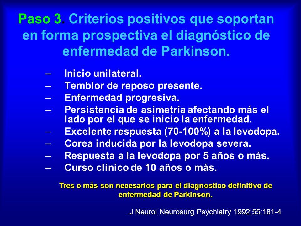 Paso 3. Criterios positivos que soportan en forma prospectiva el diagnóstico de enfermedad de Parkinson.