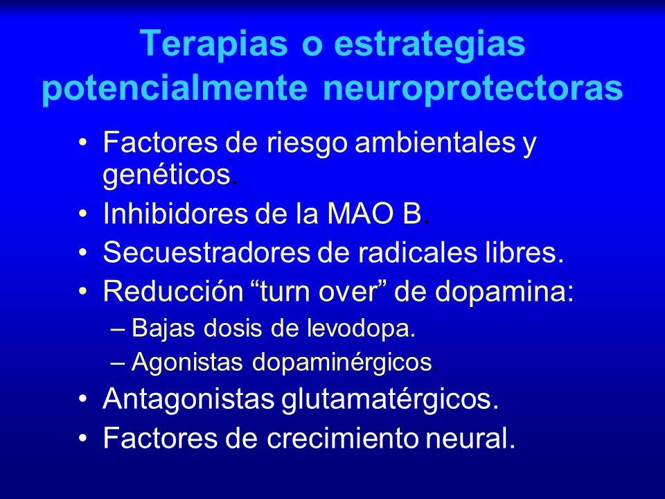 Terapias o estrategias potencialmente neuroprotectoras