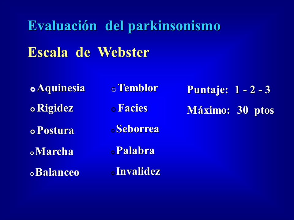 Evaluación del parkinsonismo Escala de Webster