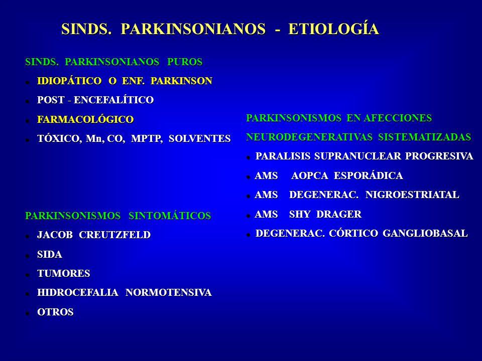 SINDS. PARKINSONIANOS - ETIOLOGÍA