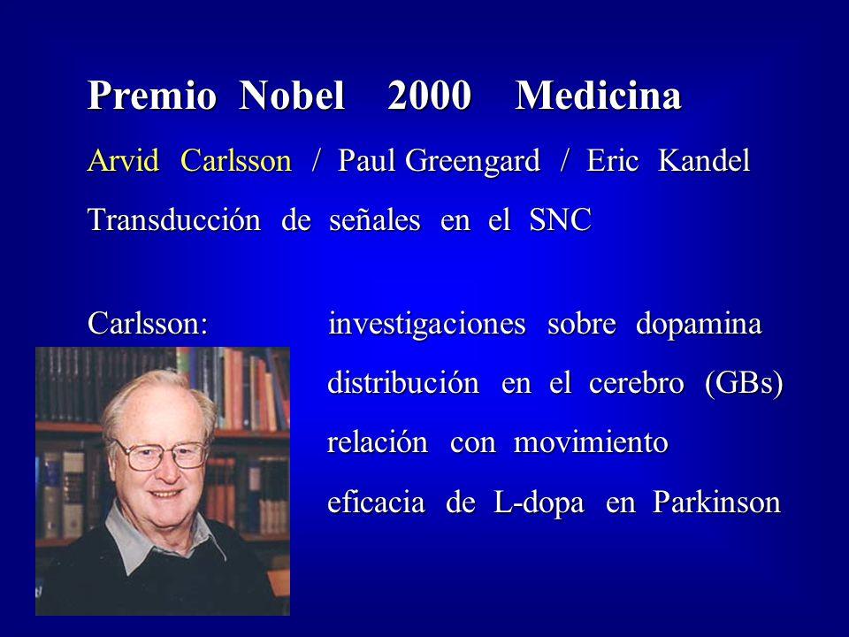 Premio Nobel 2000 Medicina Arvid Carlsson / Paul Greengard / Eric Kandel. Transducción de señales en el SNC.