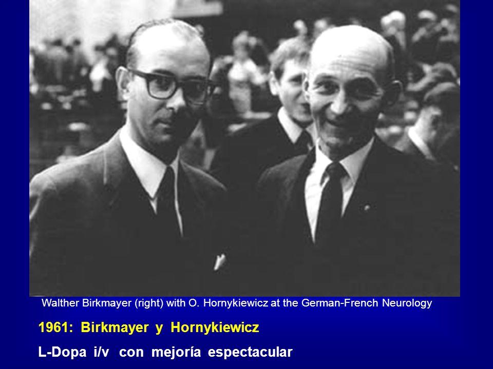 1961: Birkmayer y Hornykiewicz L-Dopa i/v con mejoría espectacular