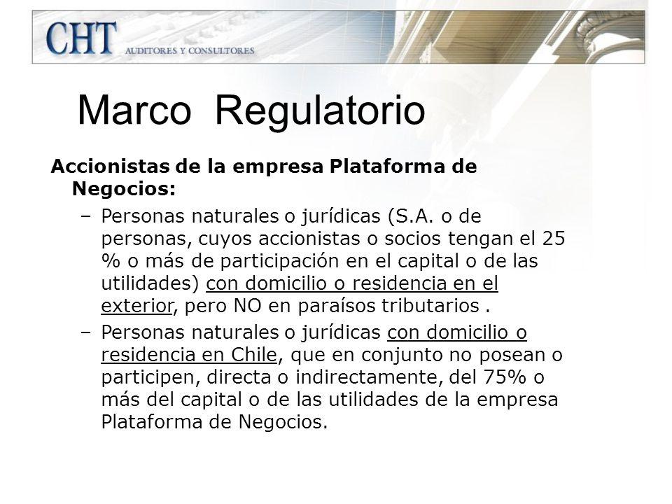 Marco Regulatorio Accionistas de la empresa Plataforma de Negocios: