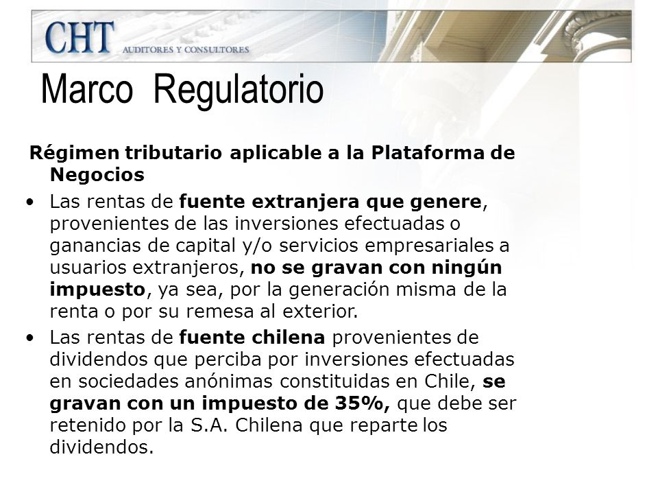Marco Regulatorio Régimen tributario aplicable a la Plataforma de Negocios.
