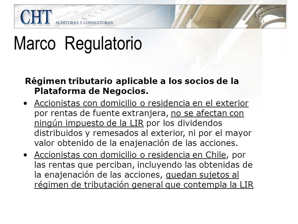 Marco Regulatorio Régimen tributario aplicable a los socios de la Plataforma de Negocios.