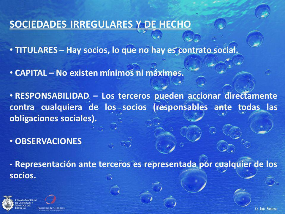 SOCIEDADES IRREGULARES Y DE HECHO