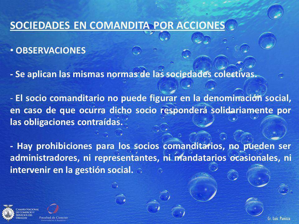 SOCIEDADES EN COMANDITA POR ACCIONES
