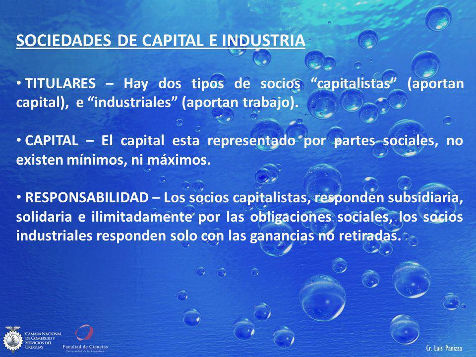 SOCIEDADES DE CAPITAL E INDUSTRIA