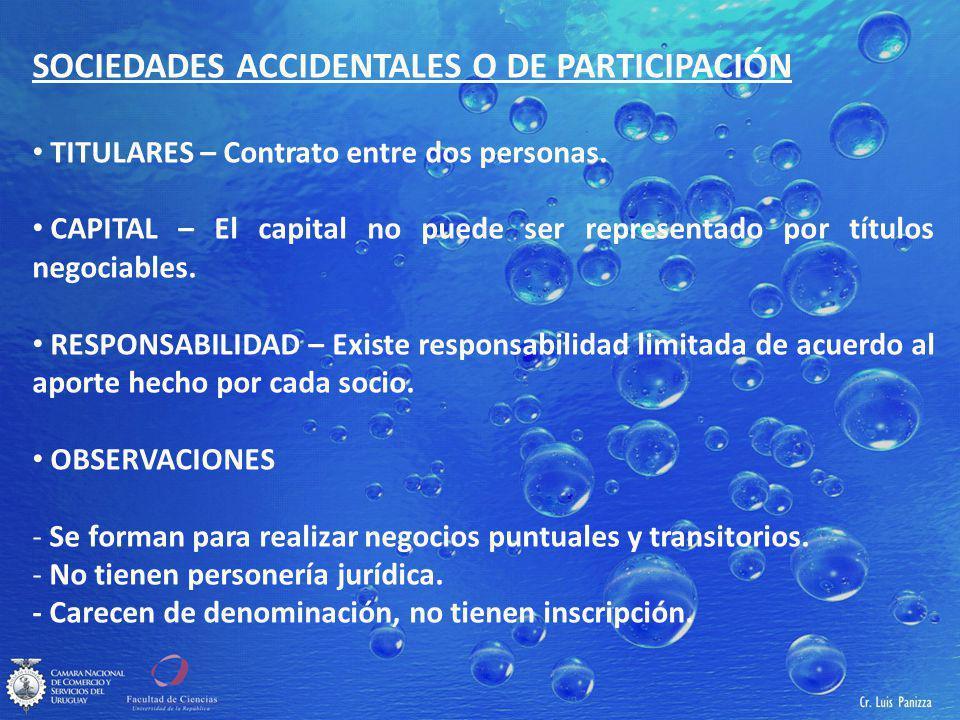 SOCIEDADES ACCIDENTALES O DE PARTICIPACIÓN