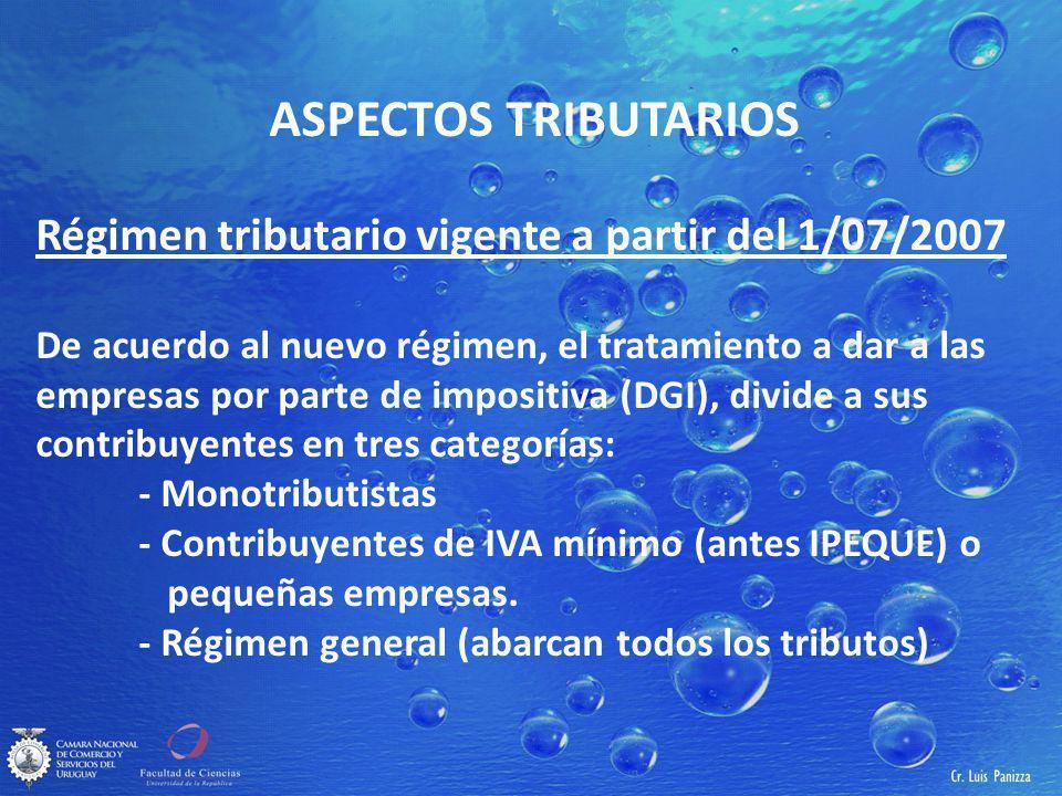 ASPECTOS TRIBUTARIOS Régimen tributario vigente a partir del 1/07/2007