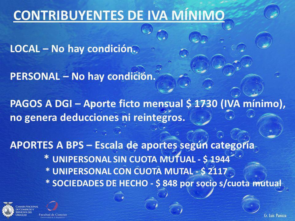 CONTRIBUYENTES DE IVA MÍNIMO