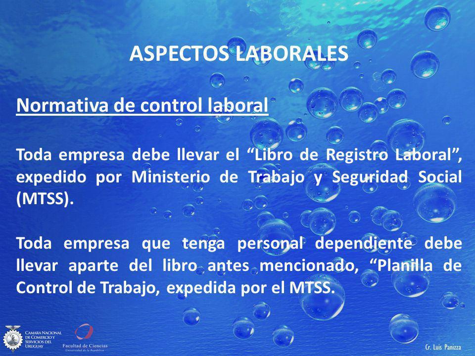 ASPECTOS LABORALES Normativa de control laboral