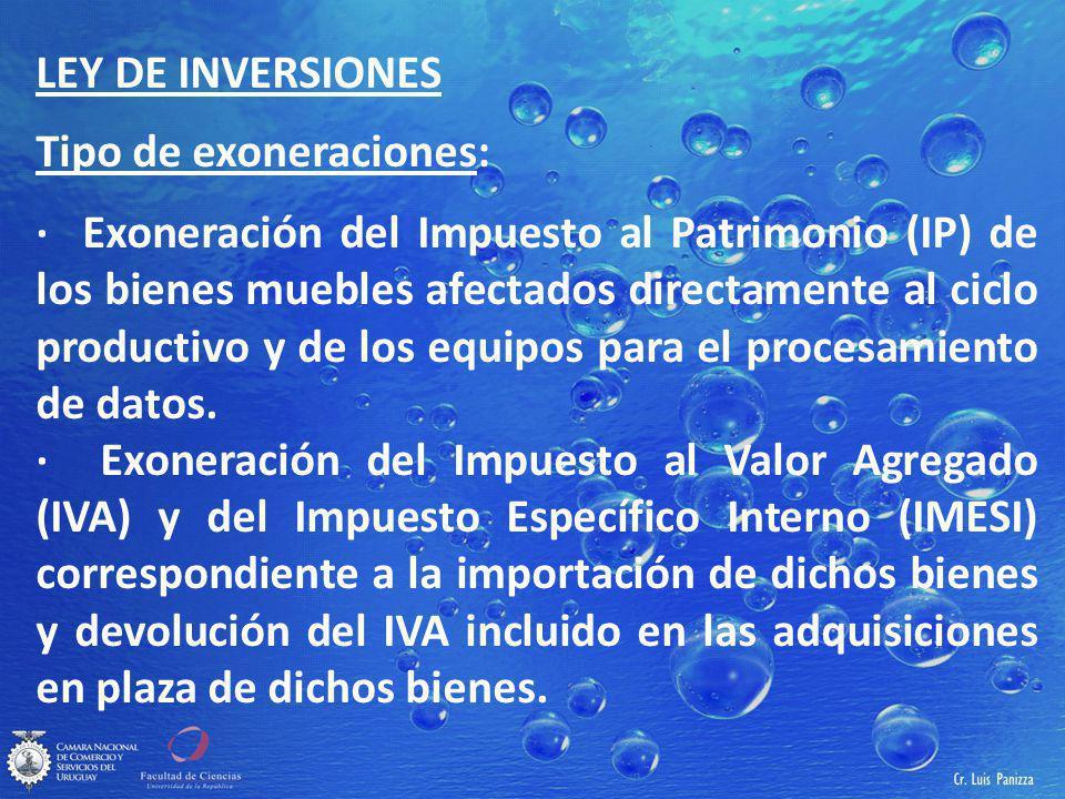 LEY DE INVERSIONES Tipo de exoneraciones: