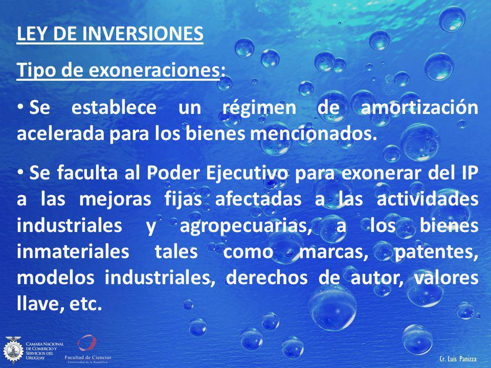 LEY DE INVERSIONES Tipo de exoneraciones: Se establece un régimen de amortización acelerada para los bienes mencionados.