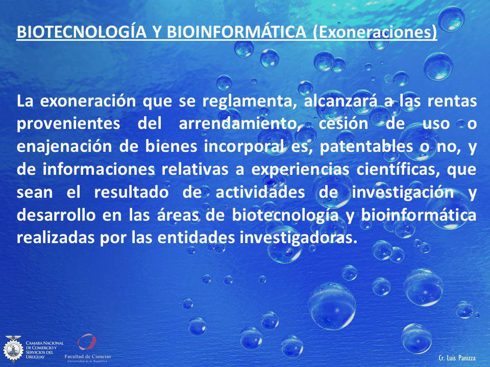 BIOTECNOLOGÍA Y BIOINFORMÁTICA (Exoneraciones)