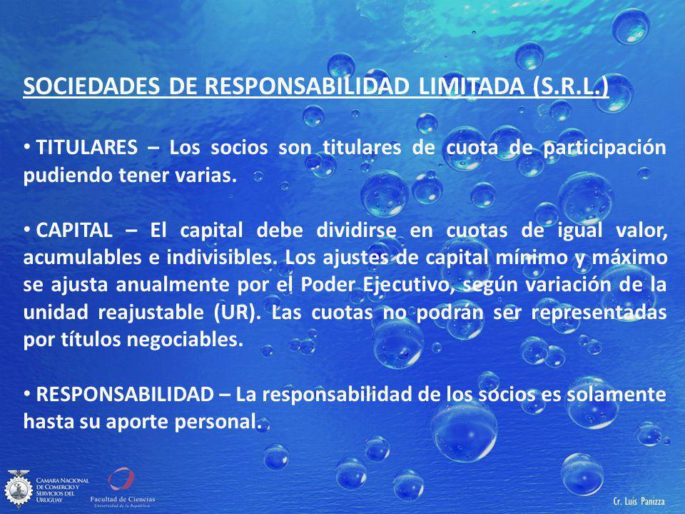 SOCIEDADES DE RESPONSABILIDAD LIMITADA (S.R.L.)