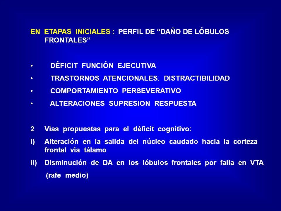 EN ETAPAS INICIALES : PERFIL DE DAÑO DE LÓBULOS FRONTALES