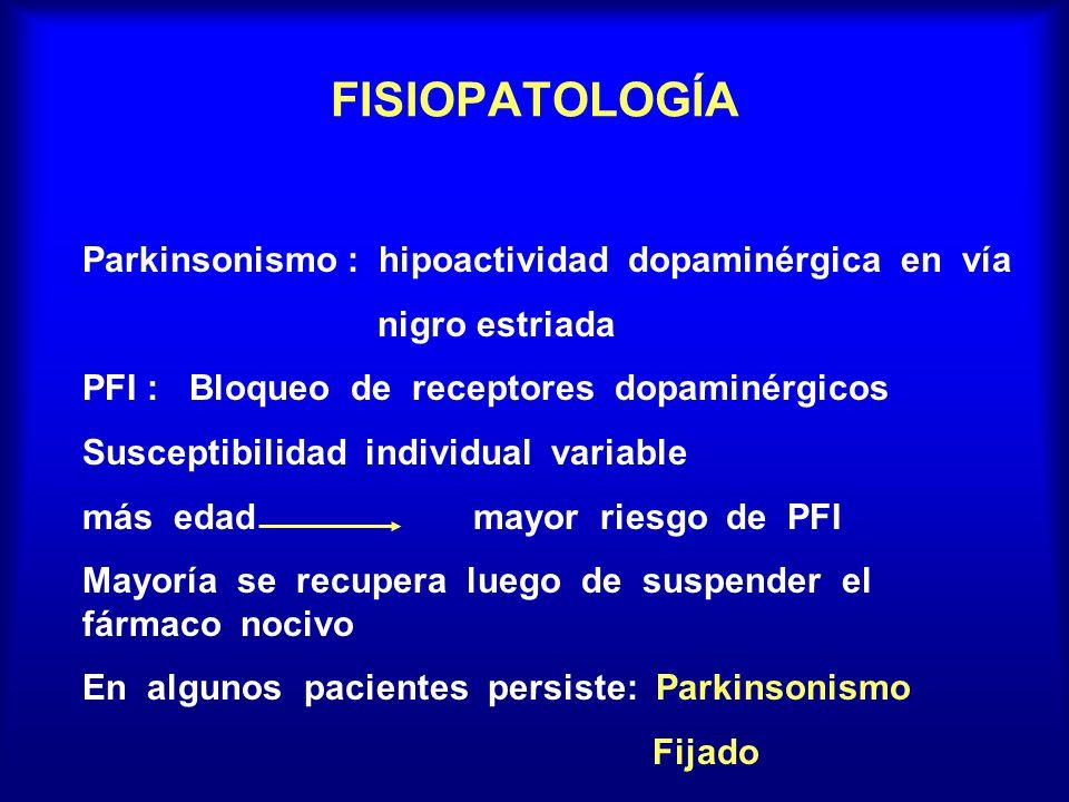 FISIOPATOLOGÍA Parkinsonismo : hipoactividad dopaminérgica en vía