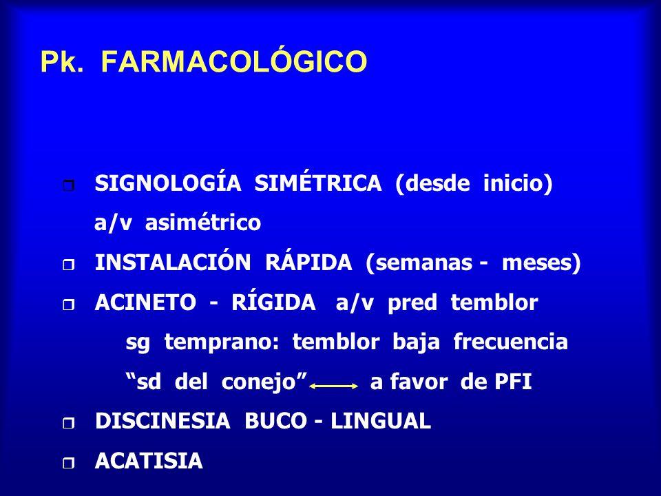Pk. FARMACOLÓGICO SIGNOLOGÍA SIMÉTRICA (desde inicio) a/v asimétrico