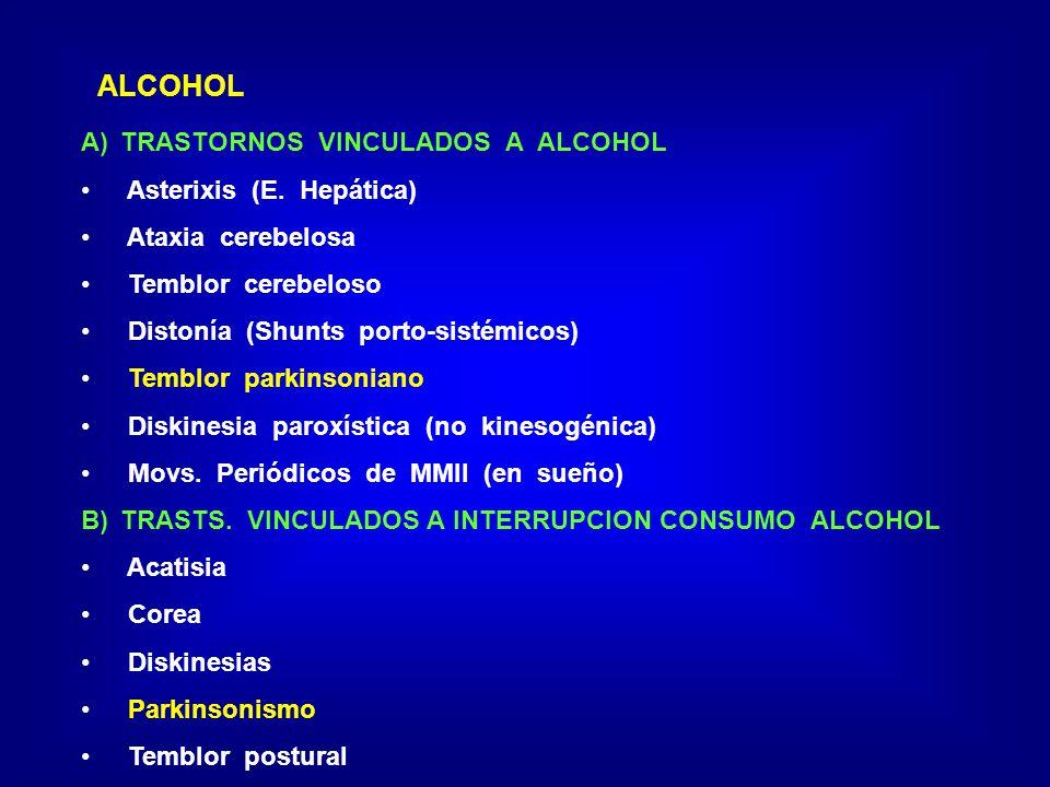 ALCOHOL TRASTORNOS VINCULADOS A ALCOHOL Asterixis (E. Hepática)