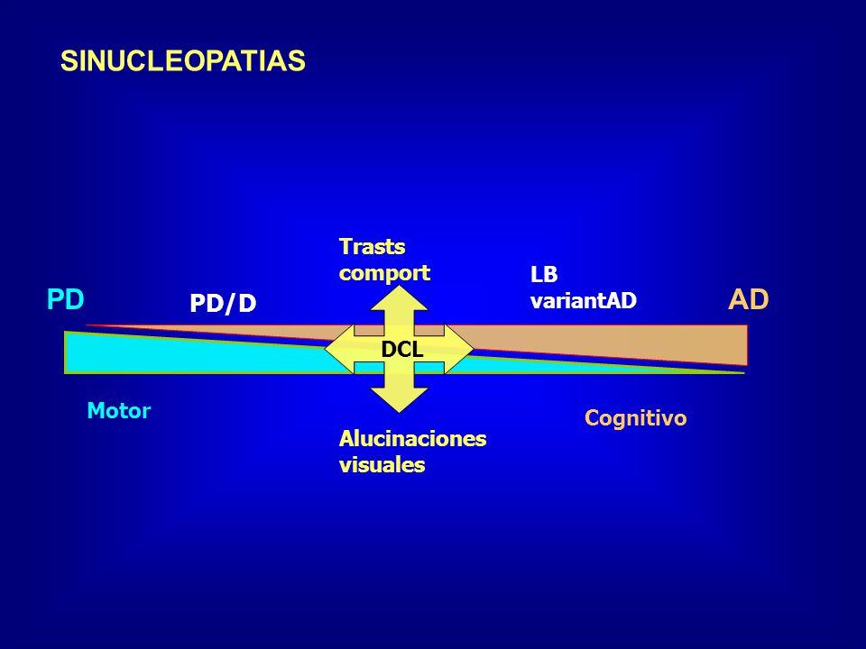SINUCLEOPATIAS PD AD PD/D Trasts comport LB variantAD DCL Motor