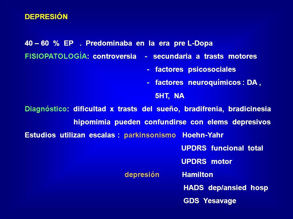 DEPRESIÓN 40 – 60 % EP . Predominaba en la era pre L-Dopa. FISIOPATOLOGÍA: controversia - secundaria a trasts motores.
