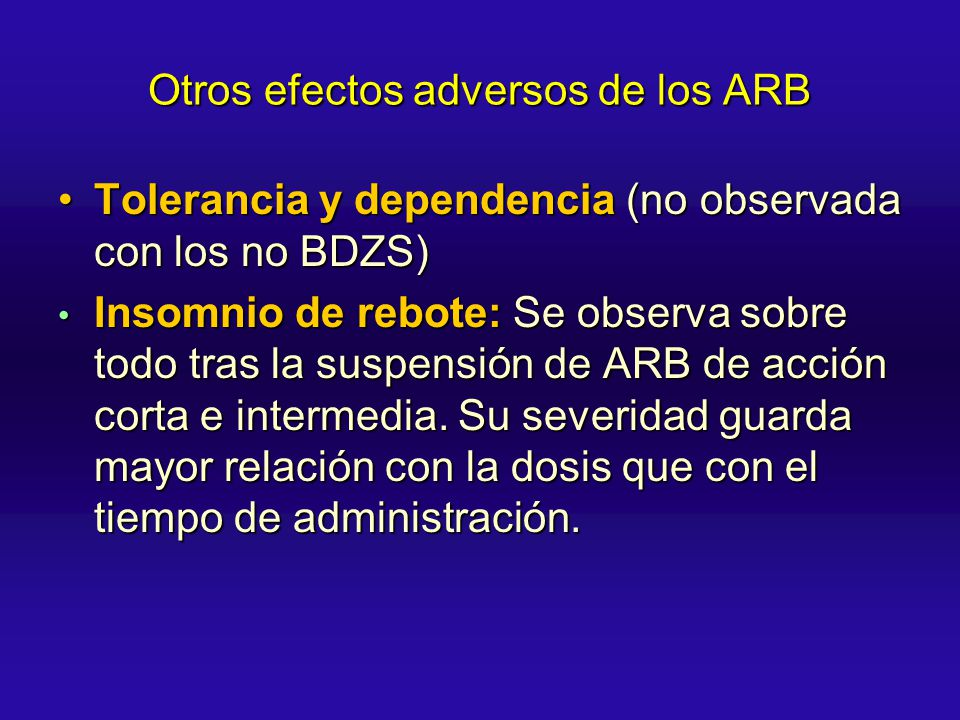 Otros efectos adversos de los ARB