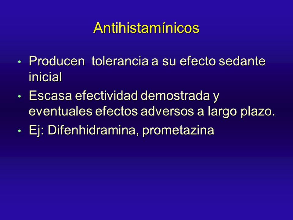 Antihistamínicos Producen tolerancia a su efecto sedante inicial