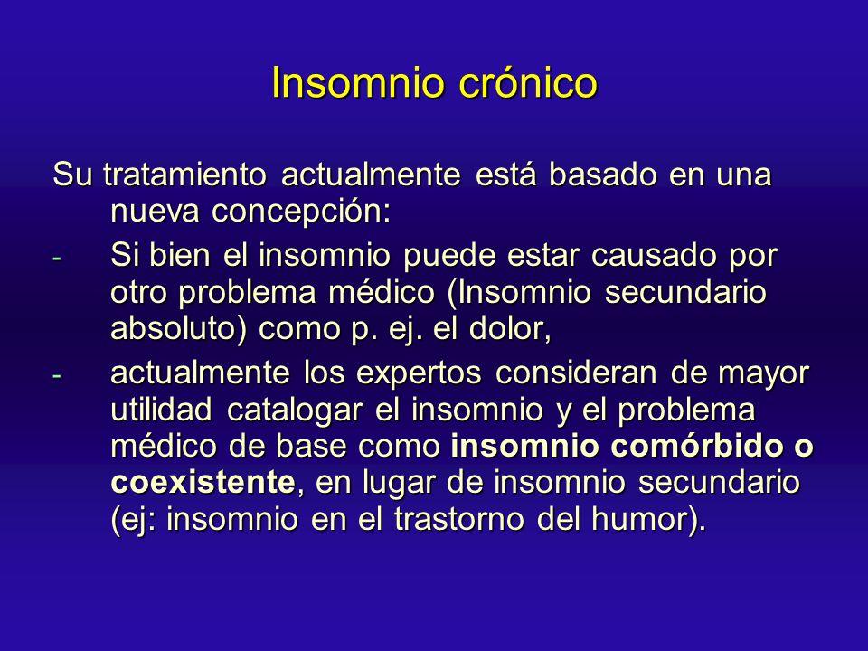 Insomnio crónico Su tratamiento actualmente está basado en una nueva concepción: