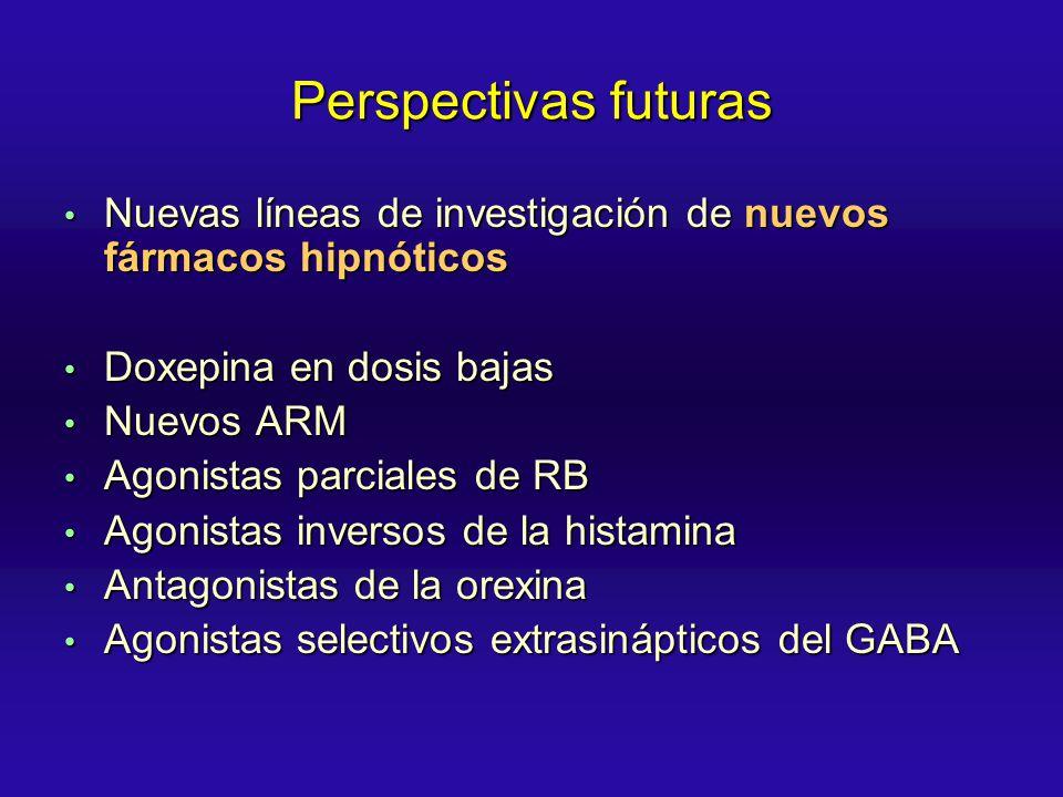 Perspectivas futuras Nuevas líneas de investigación de nuevos fármacos hipnóticos. Doxepina en dosis bajas.
