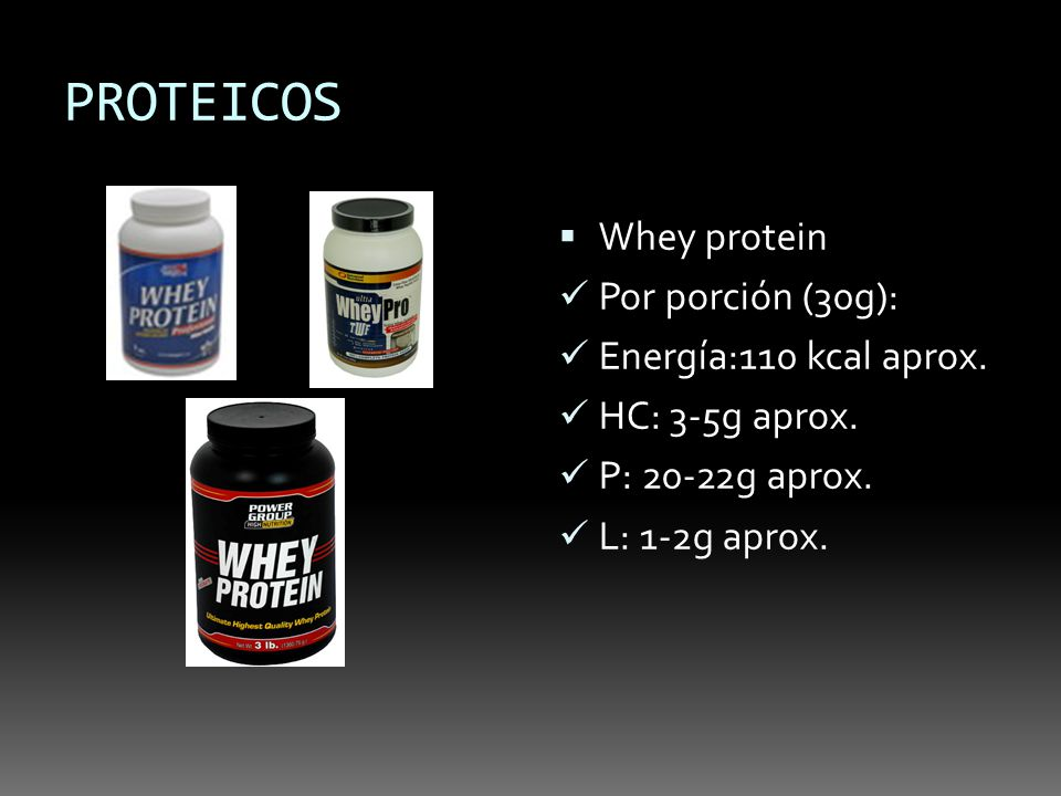PROTEICOS Whey protein Por porción (30g): Energía:110 kcal aprox.