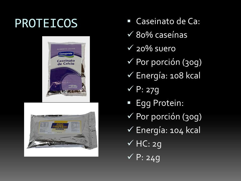 PROTEICOS Caseinato de Ca: 80% caseínas 20% suero Por porción (30g)
