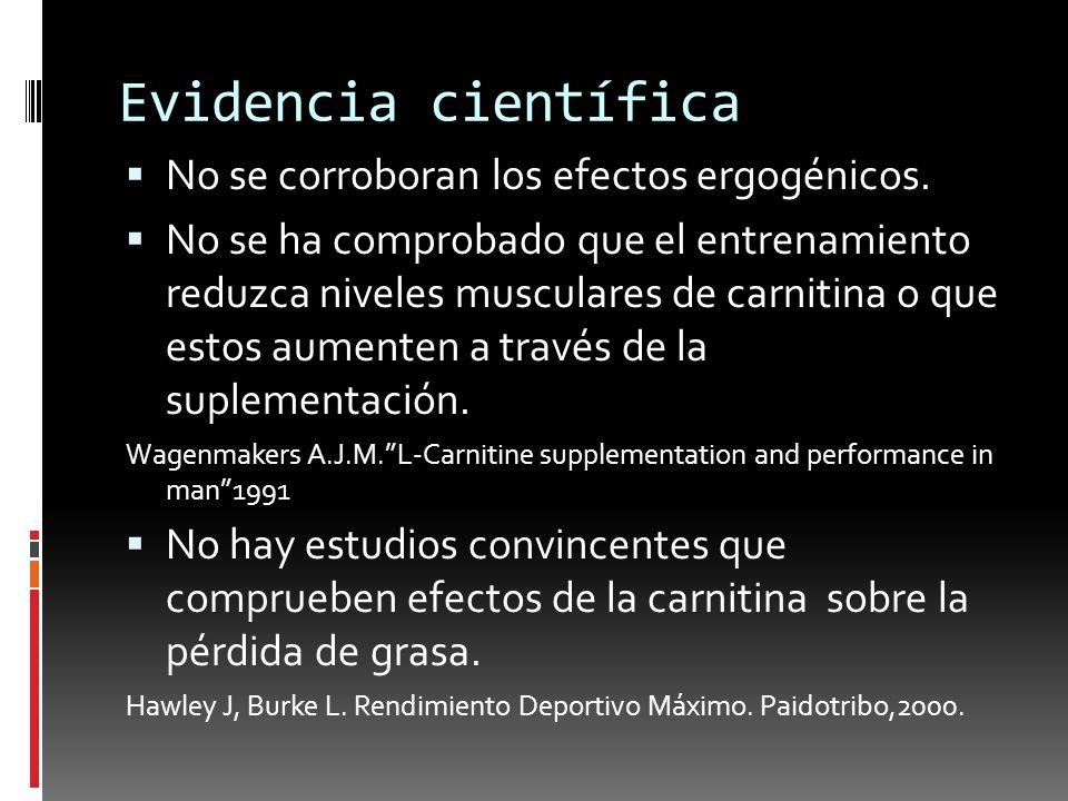 Evidencia científica No se corroboran los efectos ergogénicos.
