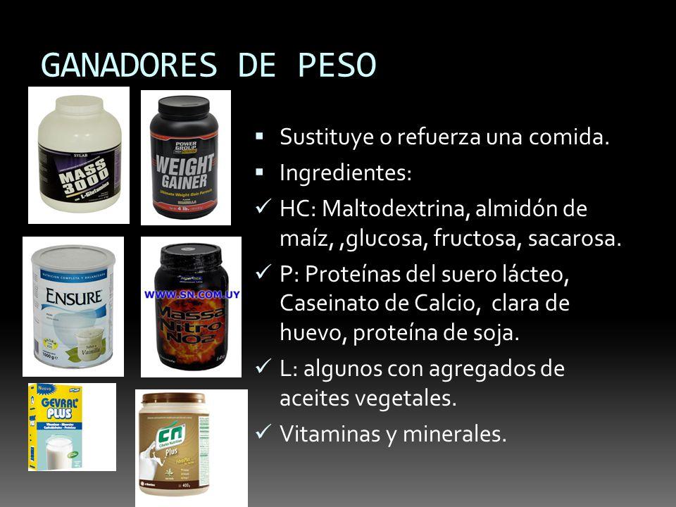 GANADORES DE PESO Sustituye o refuerza una comida. Ingredientes:
