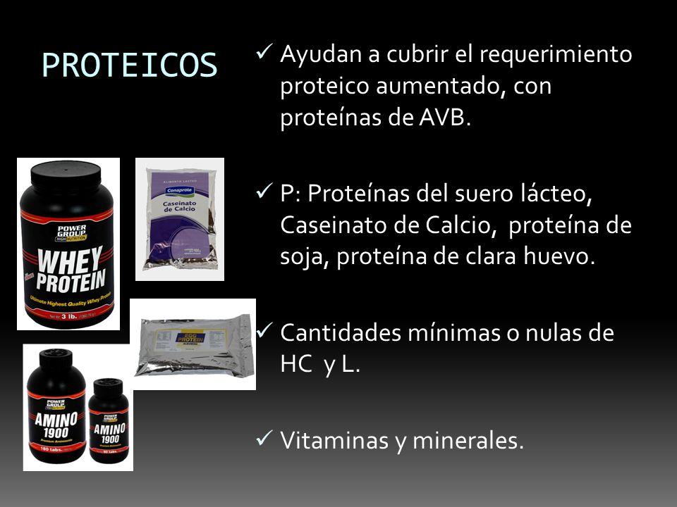 PROTEICOS Ayudan a cubrir el requerimiento proteico aumentado, con proteínas de AVB.