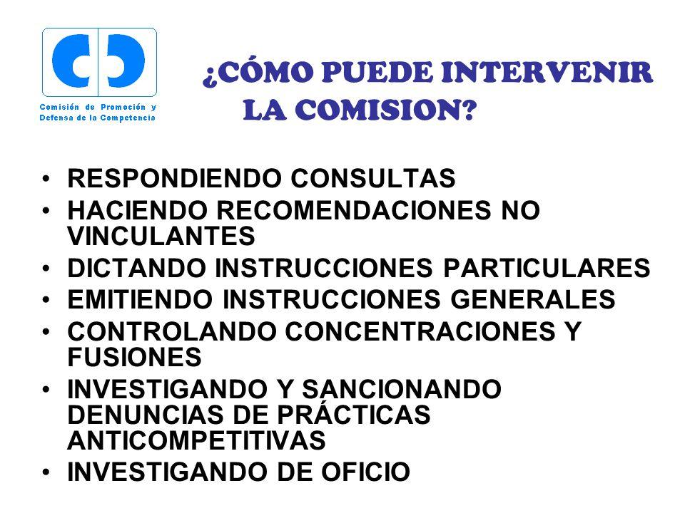 ¿CÓMO PUEDE INTERVENIR LA COMISION