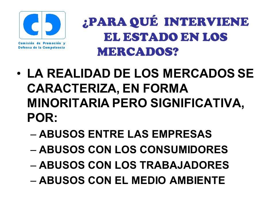 ¿PARA QUÉ INTERVIENE EL ESTADO EN LOS MERCADOS