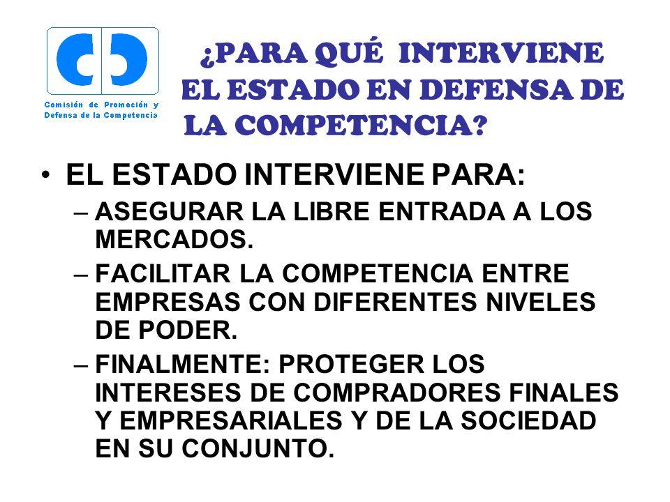 ¿PARA QUÉ INTERVIENE EL ESTADO EN DEFENSA DE LA COMPETENCIA