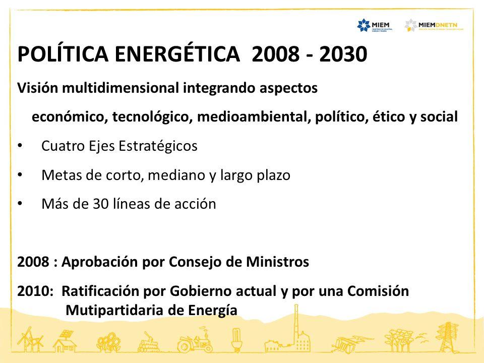 POLÍTICA ENERGÉTICA 2008 - 2030 Visión multidimensional integrando aspectos. económico, tecnológico, medioambiental, político, ético y social.