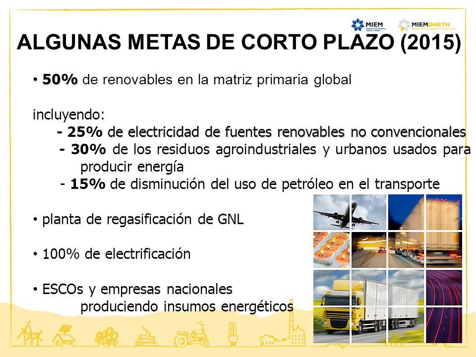 ALGUNAS METAS DE CORTO PLAZO (2015)