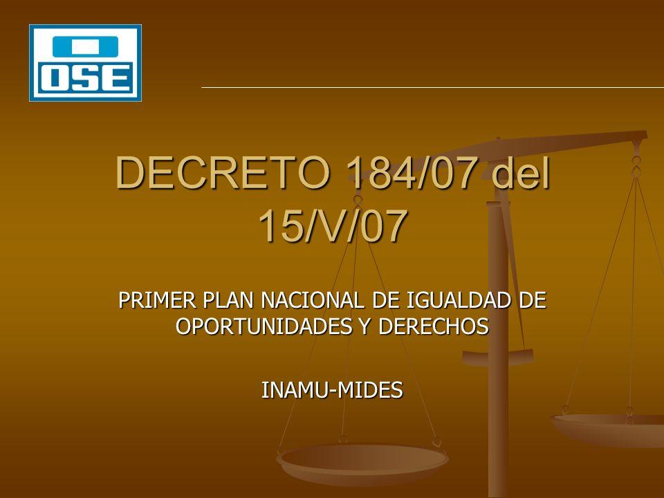PRIMER PLAN NACIONAL DE IGUALDAD DE OPORTUNIDADES Y DERECHOS