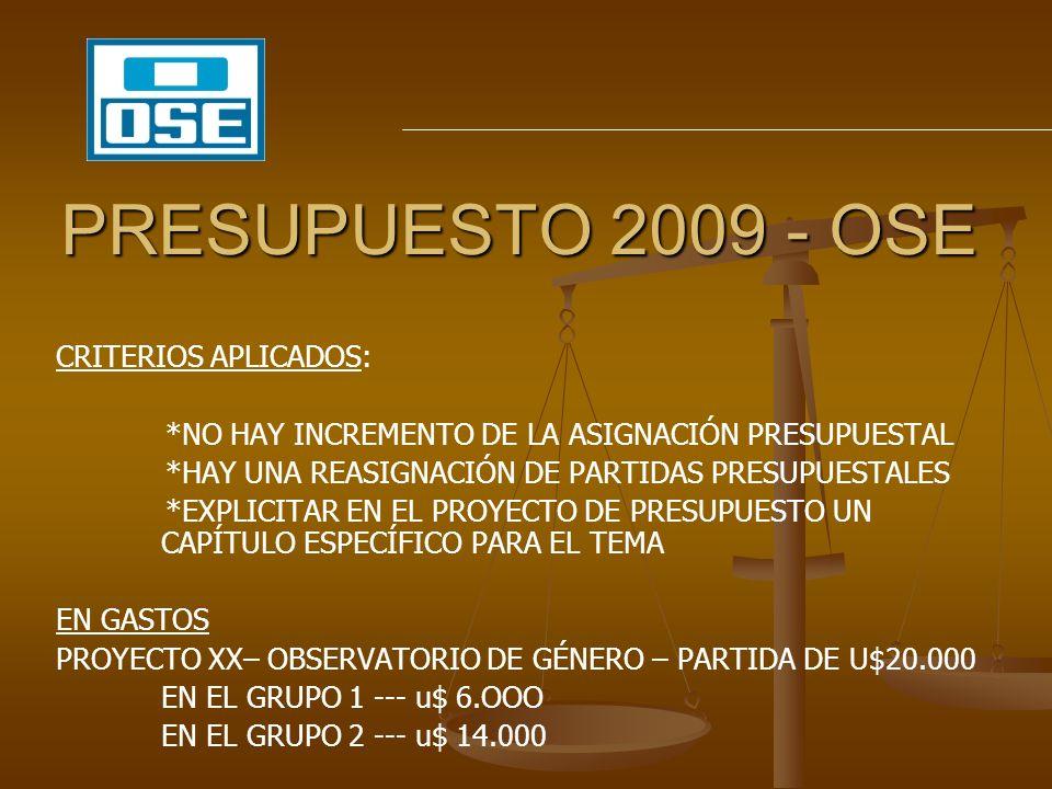 PRESUPUESTO 2009 - OSE CRITERIOS APLICADOS: