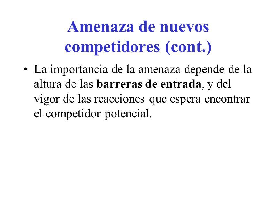Amenaza de nuevos competidores (cont.)
