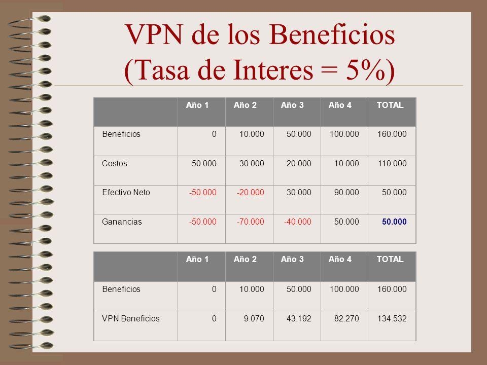 VPN de los Beneficios (Tasa de Interes = 5%)